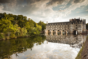 The magnificent Chateau of Chenonceau across the river Cher, Indre-et-Loire, Centre, France, Europe
