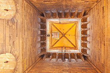 Looking up inside the Campanile bell tower of the cathedral in Florence, Tuscany, Italy, Europe