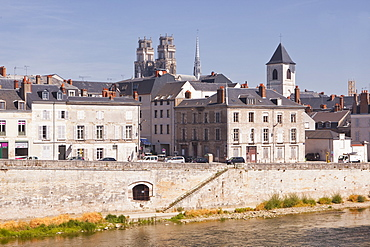Looking across the River Loire to the Cathedrale Sainte Croix d'Orleans (Cathedral of Orleans), Orleans, Loiret, France, Europe