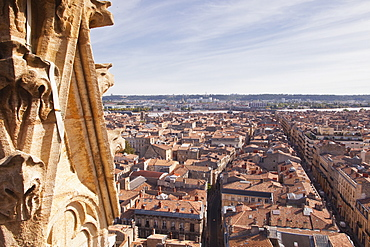 Looking out over the city of Bordeaux from the Tour Pey-Berland, Bordeaux, Gironde, Aquitaine, France, Europe