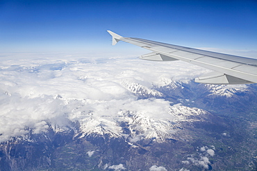 The Alps from a commercial flight, France, Europe