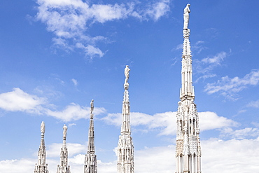 The roof of Duomo di Milano (Milan Cathedral), Milan, Lombardy, Italy, Europe