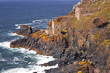 The Crown engine houses near to Botallack, UNESCO World Heritage Site, Cornwall, England, United Kingdom, Europe