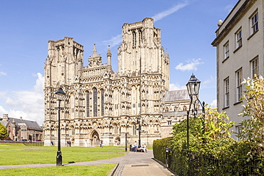 Dedicated to St. Andrew the Apostle, Wells Cathedral is the sest of the Bishop of Bath and Wells, Wells, Somerset, England, United Kingdom, Europe