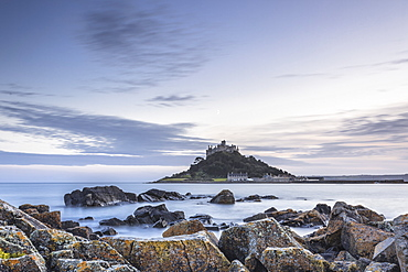 High tide at Mounts Bay in Marazion, Cornwall, England, United Kingdom, Europe