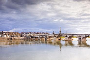 The Pont Jacques-Gabriel across the River Loire in Blois, Loir-et-Cher, Centre-Val de Loire, France, Europe