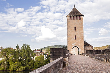 Pont Valentre in the city of Cahors, Lot, France, Europe
