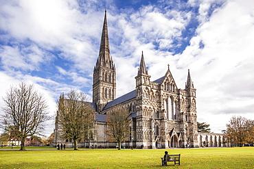 The magnificent Salisbury cathedral, Salisbury, Wiltshire, England, United Kingdom, Europe