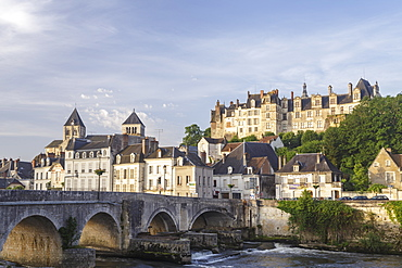 The village of Saint Aignan reflecting in the River Cher, Loir et Cher, Centre, France, Europe