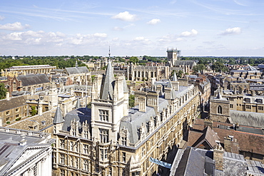 Looking down on Gonville and Caius College, Cambridge, Cambridgeshire, England, United Kingdom, Europe