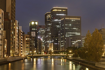 High rise office buildings in the Dotonbori area of Osaka, Japan, Asia