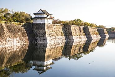 The walls of Osaka Castle in Osaka, Japan, Asia