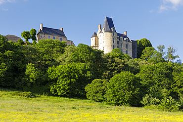 The hilltop village of Saint-Suzanne in the Mayenne area of France, Europe
