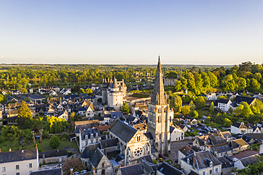 The chateau and town of Langeais in the Loire Valley, Indre et Loire, France, Europe