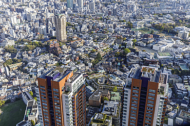 Looking down onto a residential district of central Tokyo, Japan, Asia