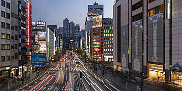 Panoramic of the Shinjuku area of Tokyo at night, Japan, Asia