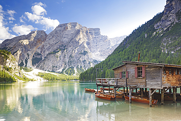 Lago di Braies in the Dolomites, Sud Tyrol, Italy, Europe