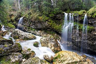 Ponte Pent de Giaveis waterfall in the Dolomites, Trento-Alto Adige, Italy, Europe