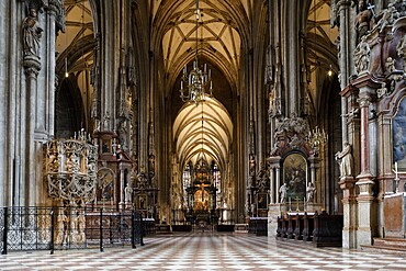 The interior of Domkirche Saint Stephan Cathedral, Vienna, Austria, Europe