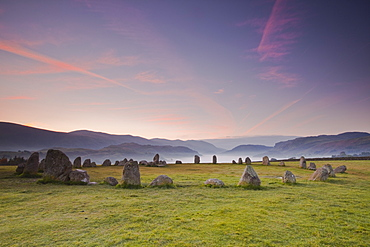 Castlerigg stone circle at dawn in the Lake District National Park, Cumbria, England, United Kingdom, Europe