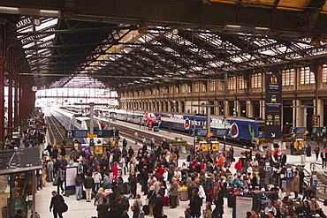 Crowds of people in the Gare de Lyon, Paris, France, Europe