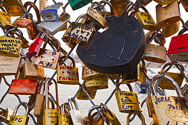 Love locks on the Pont des Arts in Paris, France, Europe