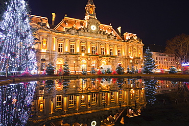 The Mairie (town hall) of Tours lit up with Christmas lights, Tours, Indre-et-Loire, France, Europe