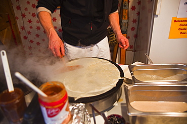 A crepe being prepared at a market in Tours, Indre-et-Loire, Centre, France, Europe