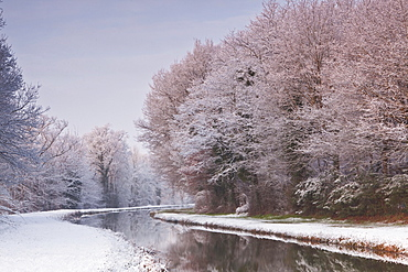 The Canal de Berry after a snow shower, Loir-et-Cher, Centre, France, Europe