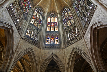 The beautiful stained glass above the choir in the Abbaye de la Trinite, Vendome, Loir-et-Cher, Centre, France, Europe
