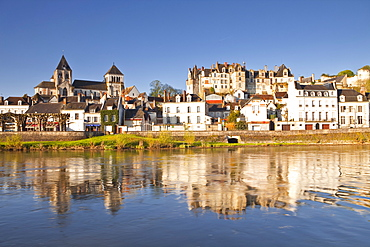 The town of Saint-Aignan and the River Cher, Loir-et-Cher, Centre, France, Europe