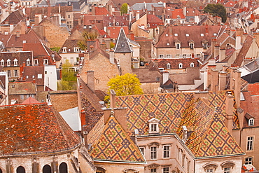 Looking out over the rooftops of Dijon, Burgundy, France, Europe