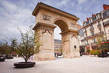 Porte Guillaume and Place Darcy in the centre of Dijon, Burgundy, France, Europe