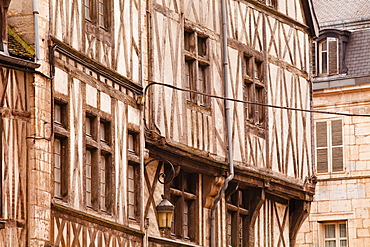 A half timbered house in the old part of Dijon, Burgundy, France, Europe