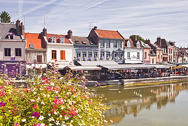 Shops and houses in the Saint Leu district of Amiens, Somme, Picardy, France, Europe