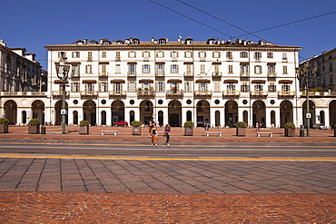 Piazza Vittorio Veneto in the old part of Turin, Piedmont, Italy, Europe