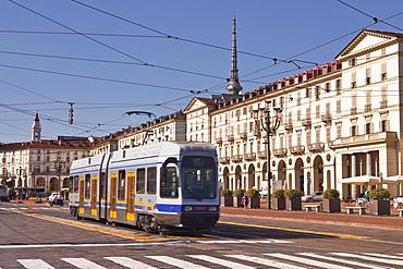 A tram runs through Piazza Vittorio Veneto, Turin, Piedmont, Italy, Europe