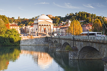 The Gran Madre di Dio church dating from the 19th century it and decorated in the style of a classical temple, seen across the River Po, Turin, Piedmont, Italy, Europe