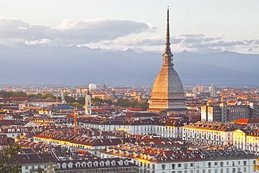 The Mole Antonelliana rising above Turin at sunset, Turin, Piedmont, Italy, Europe