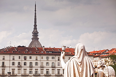 Statues in front of Gran Madre di Dio look over to Mole Antonelliana, Turin, Piedmont, Italy, Europe