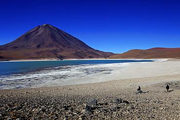 The Laguna Verde or Green Lagoon with Volcan Licancabur in background, Eduardo Avaroa Andean Fauna National Reserve, Southwest Highlands, Bolivia, South America