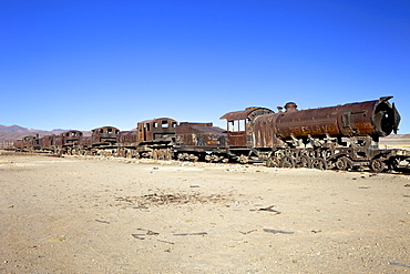 Rusting old steam locomotives at the Train cemetery (train graveyard), Uyuni, Southwest, Bolivia, South America