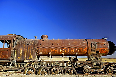 Rusting old steam locomotive at the Train cemetery (train graveyard), Uyuni, Southwest, Bolivia, South America