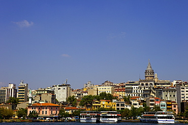 The Galata Tower and city along the Bosphorus strait, Istanbul, Turkey, Europe, Eurasia
