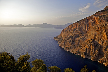 Aerial view of Butterfly Valley and the Lycia coastline, Lycian Way, near Fethiye, Oludeniz, Mediterranean, Turkey, Asia Minor, Eurasia