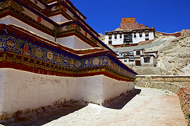 The base of Kumbum chorten (Stupa) in the Palcho Monastery at Gyantse, Tibet, China, Asia