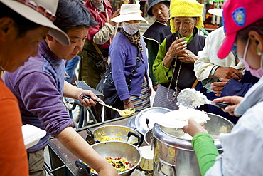 Food seller, Lhasa, Tibet, China, Asia