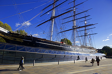 The Cutty Sark, a British Tea Clipper built in 1869 moored near the Thames at Greenwich, London, England, United Kingdom, Europe
