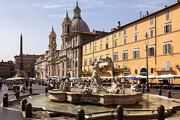 Fountain of the Four Rivers and Church of Sant'Agnese, Agone, Piazza Navona, Rome, Lazio, Italy, Europe