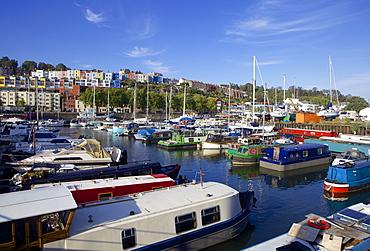 Narrowboats along Bristol's Harbourside near Hotwells, Bristol, England, United Kingdom, Europe
